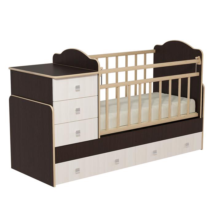 Кровать детская с комодом и ящиками «Колибри», цвет венге/бодега светлый