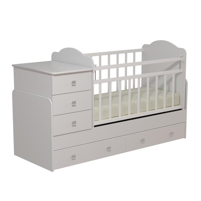 Кровать детская с комодом и ящиками «Колибри», цвет белый