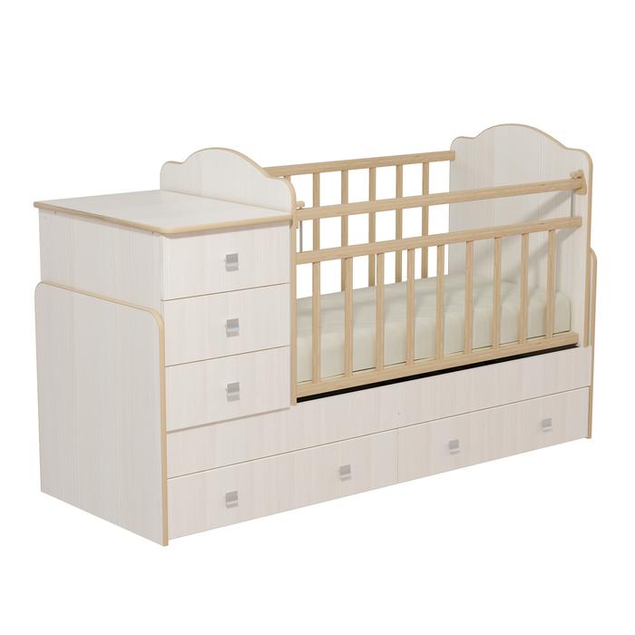 Кровать детская с комодом и ящиками «Колибри», бодега светлый