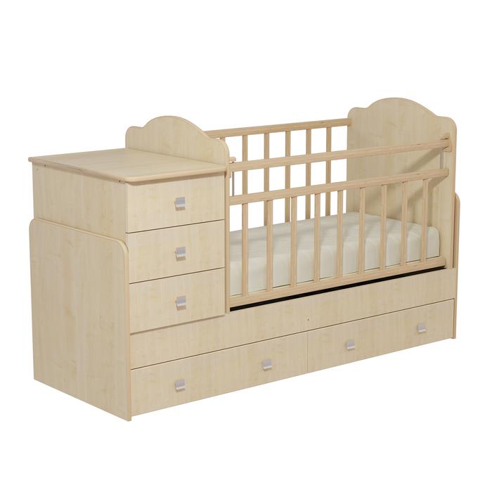 Кровать детская с комодом и ящиками «Колибри», клён