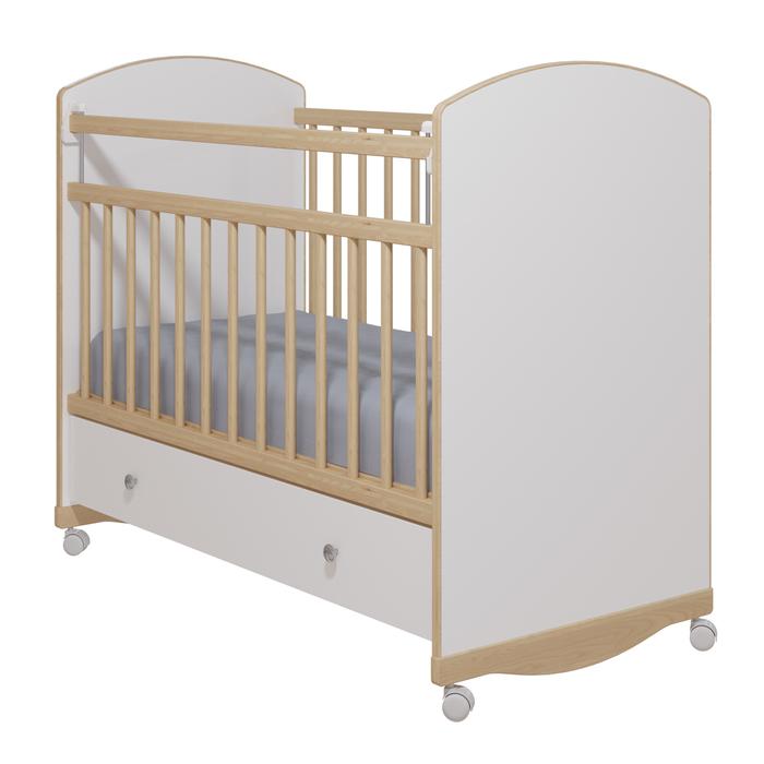 Кровать детская «Колибри-Классик 3» с ящиком, цвет белый, решетки берёза