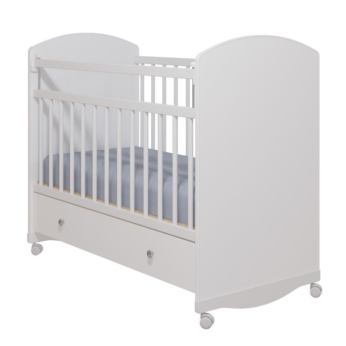 Кровать детская «Колибри-Классик 3» с ящиком, цвет белый, решетки белые