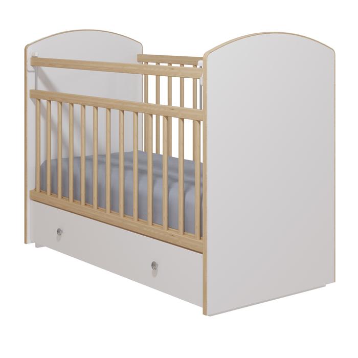 Кровать детская «Колибри-Классик 5», цвет белый, решетки берёза
