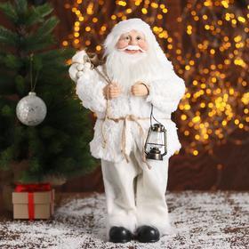 """Дед Мороз """"В белой шубке, с фонариком"""" 43 см"""