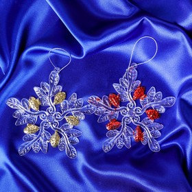 "Christmas tree decoration ""snowflake-icicle"" 11*11 cm (2 PCs set)"