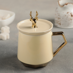 "Mug 450 ml ""Reindeer"" with a ceramic cap, MIX color"