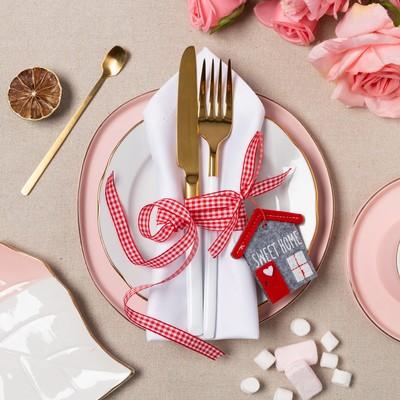 "Dekorativna ribbon for napkins ""Sweet home"" 7 cm, 100% p/e, felt"