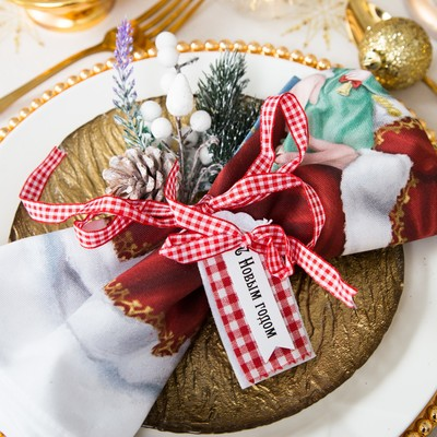 "Dekorativna ribbon for the napkins, ""happy new year"" 7 cm, 100% p/e, felt"