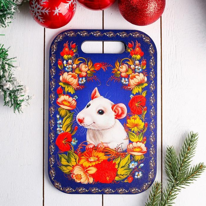 Доска разделочная «Крыска в цветах»,19×28×0,8 см