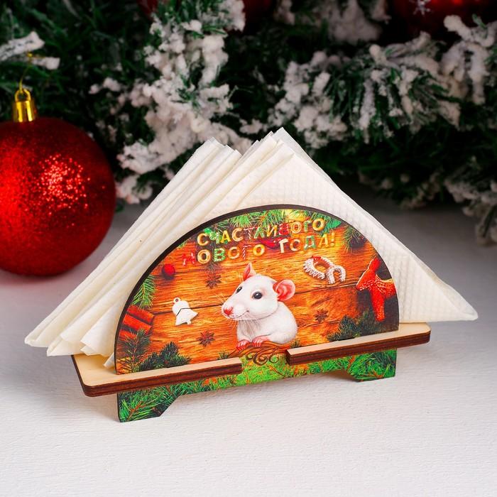 Салфетница «Крыска», счастливого года, 4×11,5×8 см