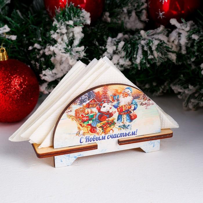 Салфетница «Дед Мороз с мышкой», с новым счастьем, 4×11,5×8 см