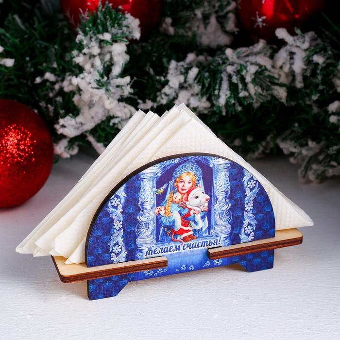 Салфетница «Снегурочка с мышкой», желаем счастья, 4×11,5×8 см