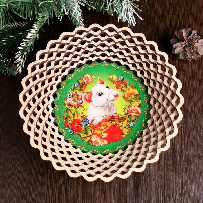Сухарница «Крыска в цветах», 20×20×4 см