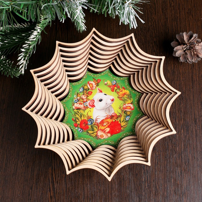 Сухарница «Крыска в цветах», 19,5×19,5×4 см