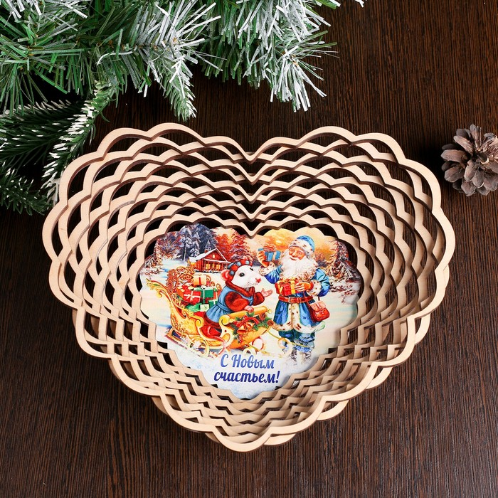 Сухарница «Дед Мороз с мышкой», с новым счастьем, 20×18×4 см