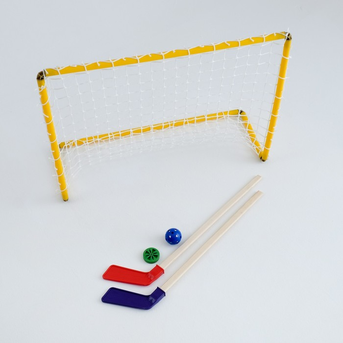Набор хоккейный 5 в 1: ворота, 2 клюшки, шайба, мячик