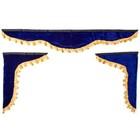 Ламбрекен лобового стекла со шторками Skyway 140см/46х60 см Синий
