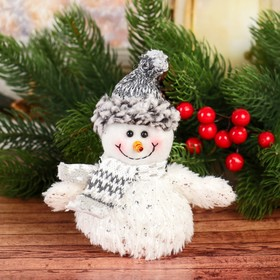 "Soft toy ""Winter sparkle"" snowman 8*14 cm white"