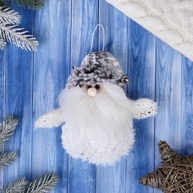 """Мягкая игрушка """"Дед Мороз - пушистик"""" 8*14 см белый"""