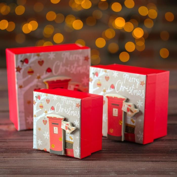 Наборк коробок 3 в 1 «С рождеством!», 13 х 13 х 8 - 9 х 9 х 6 см