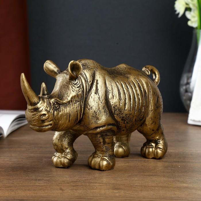 Сувенир полистоун  Золотой носорог  12,5х22х7 см