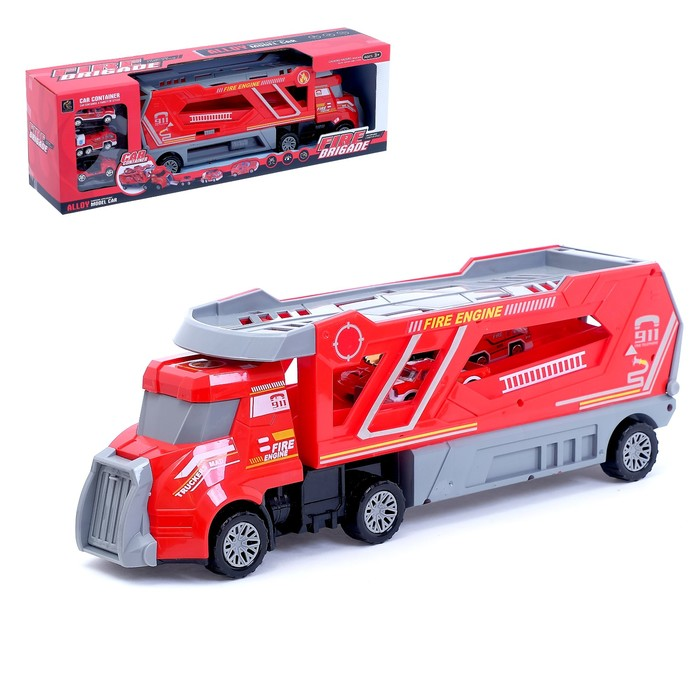 Грузовик инерционный «Пожарная служба» с 3 машинами