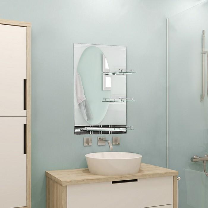 Зеркало в ванную комнату Ассоona A602, 800 х 600 мм, 3 полки, двухслойное