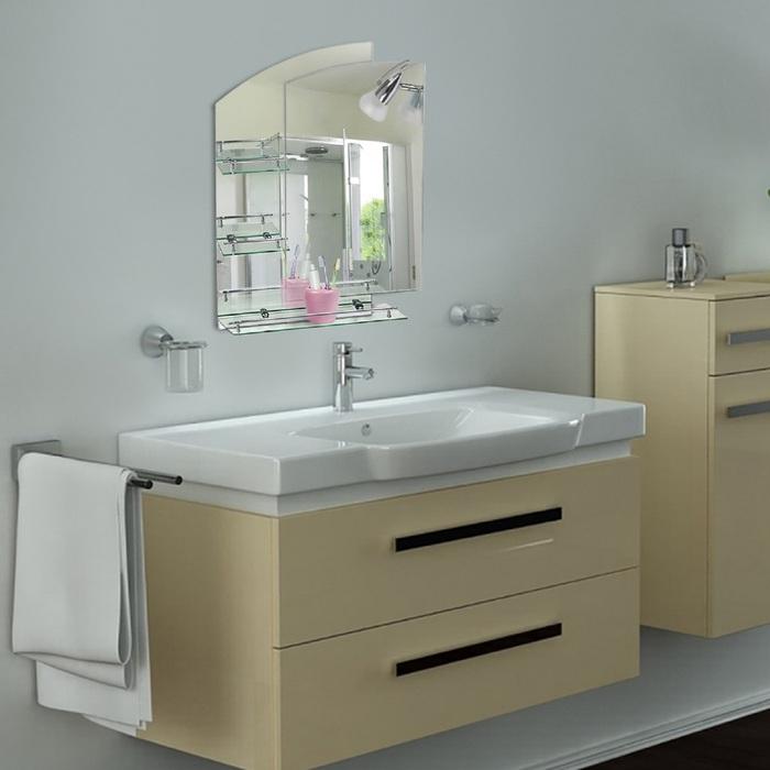 Зеркало в ванную комнату Ассоona A613, 800 х 600 мм, 3 полки, с подсветкой, двухслойное 12154