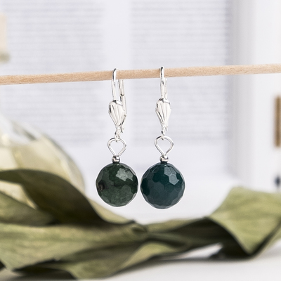 """Earrings """"Chrysoprase"""" ball No. 12 faceted"""