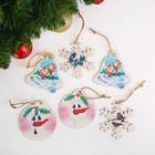 """Подвеска новогодняя с цветным принтом """"Колокольчики, снеговики, снежинки"""" набор 6 шт.."""