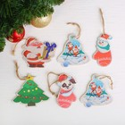"""Подвеска новогодняя с цветным принтом """"Варежки, Колокольчики, Дед Мороз и ёлочки"""" набор 6 шт."""