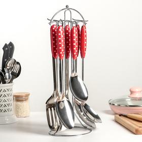 Набор кухонных принадлежностей «Горошек», 6 предметов, ручная полировка, на подставке
