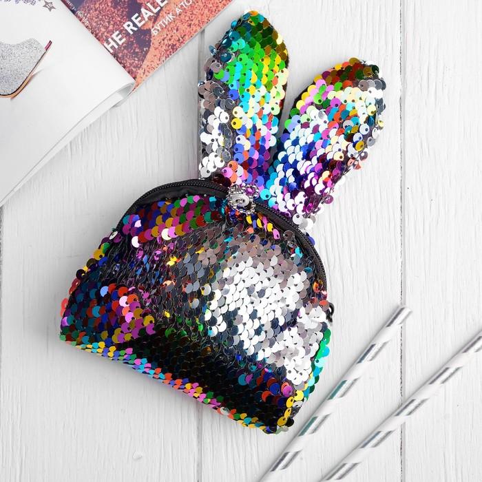 Мягкий кошелёк «Зайка», пайетки, цвет серебрянно-хамелеоновый