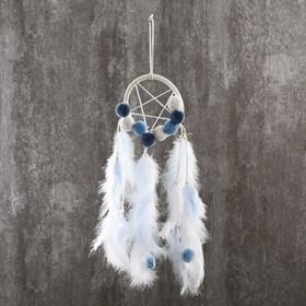 """Ловец снов """"Бомбошки и пёрышки"""" нежно-голубой 45х12 см"""