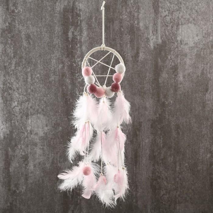 """Ловец снов """"Бомбошки и пёрышки"""" нежно-розовый 45х12 см - фото 798269594"""