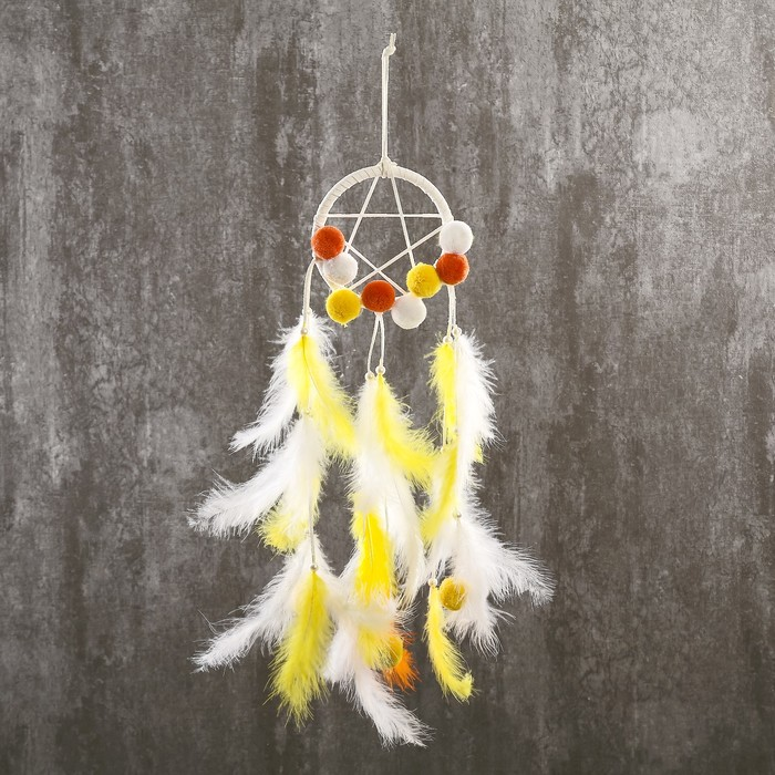 """Ловец снов """"Бомбошки и пёрышки"""" жёлто-оранжевый 45х12 см - фото 798269599"""