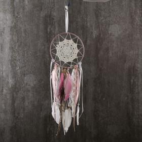 """Ловец снов """"Кружево и павлинье перо"""" нежно-розовый 47х15 см"""