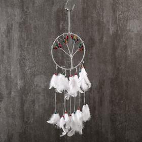 """Ловец снов """"Дерево с плодами"""" белые перья 45х15 см"""
