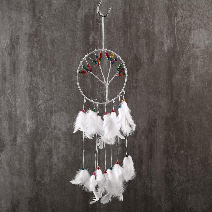 """Ловец снов """"Дерево с плодами"""" белые перья 45х15 см - фото 798269625"""