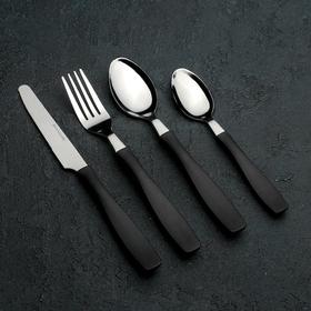Набор столовых приборов «Хэнди», 24 предмета, на пластиковой подставке, цвет чёрный