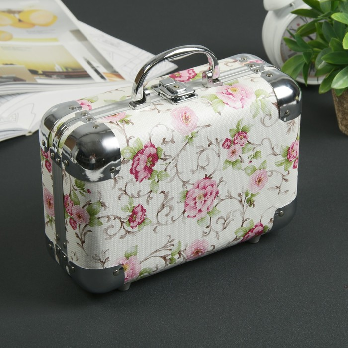 """Шкатулка металлокаркас чемодан """"Розовые розы"""" 17х24х9,5 см"""