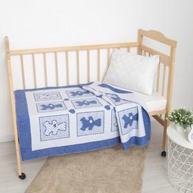 Одеяло жаккардовое, 100х140 см, бел/гол МИКС, хл50%, пэ30%, пан20%