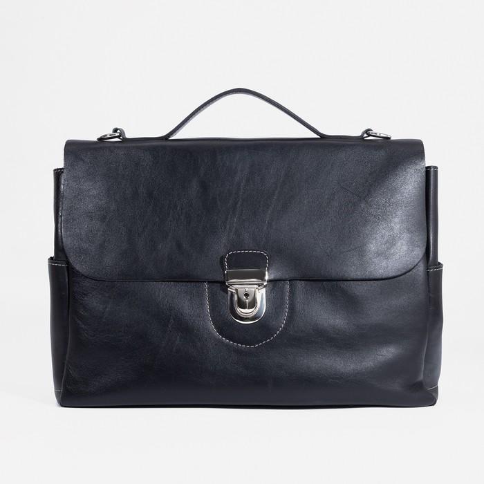 Портфель мужской, 2 отдела на клапане, длинный ремень, цвет коричневый