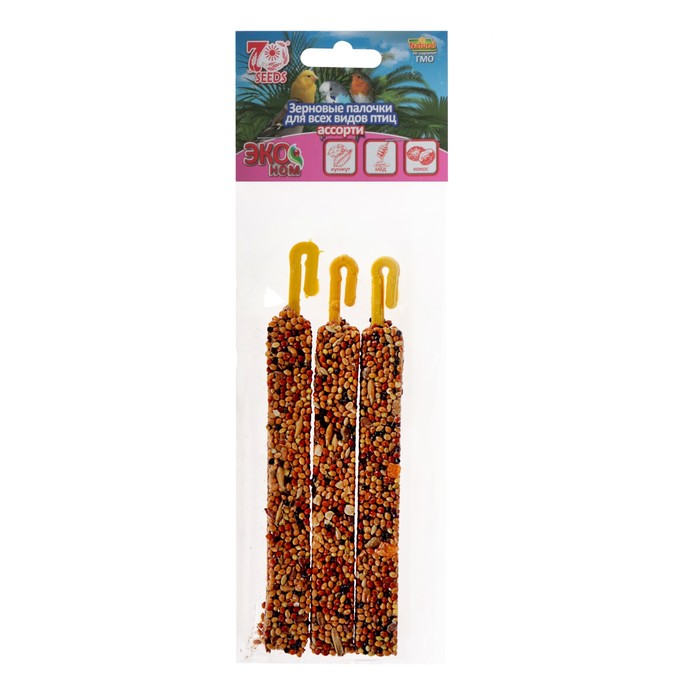 Палочки Seven Seeds Эконом для птиц, витамины/орех/абрикос, 3 шт, 75 г