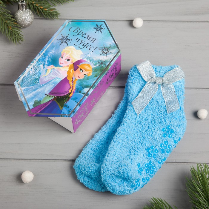 """Носки махровые в подарочной коробке """"Новогодние"""", р-р 12-22 см, Холодное сердце"""