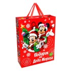"""Пакет ламинат вертикальный """"Подарок от деда Мороза!"""", 31х40х11 см, Микки Маус"""