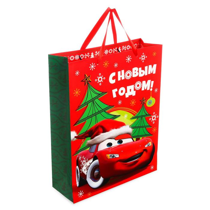 Пакет подарочный ламинированный «С Новым Годом!», Тачки, 31 х 40 х 11 см