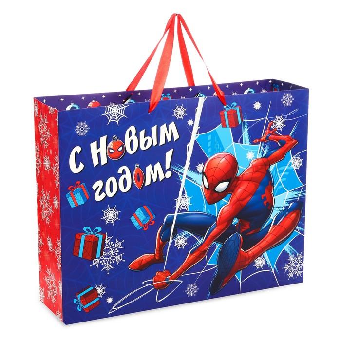 """Пакет ламинат """"С Новым годом!"""", 40х31х11 см, Человек-Паук"""