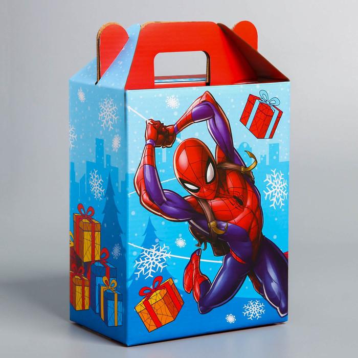 """Коробка складная """"С Новым годом!"""", Человек-паук, 16 х 21 х 10 см"""