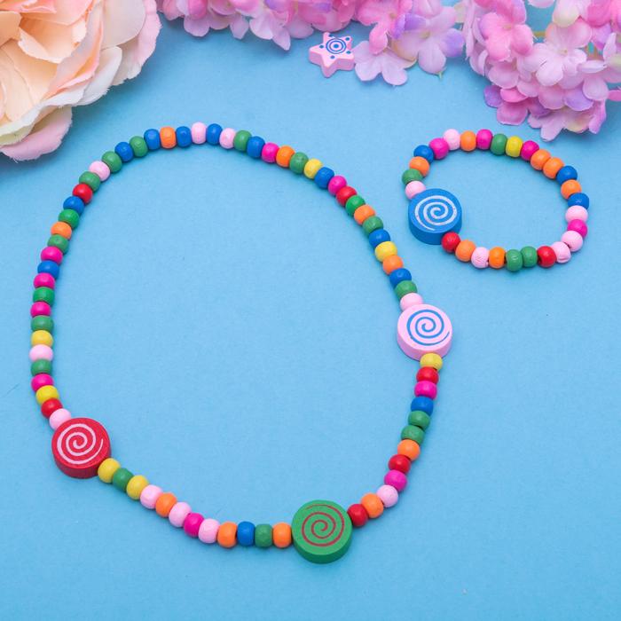 """Набор детский """"Выбражулька"""" 2 предмета: колье, браслет, круглые спиральки, цвет МИКС"""